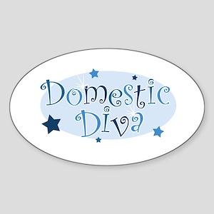 """""""Domestic Diva"""" [blue] Oval Sticker"""